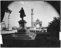 Brooklyn: entrance to Prospect Park at Grand Army Plaza, undated. Stranahan statue visible (from the rear) and triumphal arch in distance.
