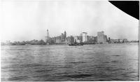 Manhattan: Lower Manhattan skyline and the Hudson River, from New Jersey, 1913.