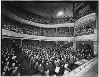 Brooklyn: interior view from stage, packed house full of children at a  performance for the Sunshine Society at Corse Payton's Lee Avenue Theatre [?], undated.