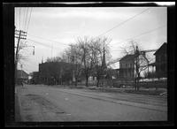 Newtown: [unidentified houses, buildings, and church, undated.]