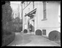 Odessa France Bjorkman standing in the entrance of the Pan American Annex, Washington, D.C., undated (ca. 1920-1925).