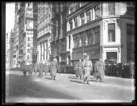 Colonel N.K. Averill and staff on parade on Fifth Avenue with the  308th Infantry, United States Army, New York City, February 4, 1918.