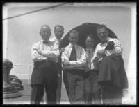 Dr. Hillman, Fritz E. Bjorkman, O.Y. Kirkpatrick, W.R. Poole, and F. Goldenhorn on vacation on board the S.S. Apache, August 26, 1917.