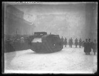 British tank 'Britannia' on parade with 'New York's Own' 308th Infantry, down Fifth Avenue, New York City, February 22, 1918.