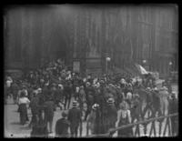 Crowd gathering for an unidentified rally in front of Mount Vernon Place United Methodist Church, Baltimore, Maryland, undated (ca. 1917-1918).