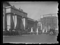 Decorations in front of the New York Public Library for the visit of the Imperial Japanese Mission, September 27, 1917.