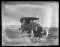 'Our car' (probably the Bjorkman family automobile) in the Painted Desert, Adamana, Arizona, September 20, 1915
