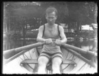 Fritz E. Bjorkman at the oars, Camp Oscanawa, Putnam County, N.Y., July, 1916.