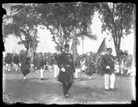 Military parade along Riverside Drive near the Soldiers' and Sailors' Monument, New York City, undated (ca. 1917-1919).