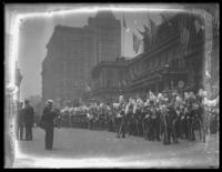 Soldiers assembled in front of City Hall for a parade, New York City, undated (ca. 1917-1918).