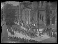 Soldiers marching past the Mount Vernon Place United Methodist Church, Baltimore, Maryland, undated (ca. 1917-1918).