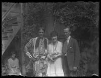 Fritz E. Bjorkman and Odessa France Bjorkman with Chief Oskomon, Baltimore, Maryland, undated (ca. 1917-1918).