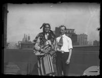 Chief Oskomon and Fritz E. Bjorkman on the roof of an unidentified building, Baltimore, Maryland, undated (ca. 1917-1918).