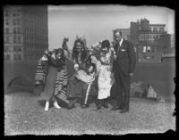 Chief Oskomon, Odessa France Bjorkman, and an unidentified man and woman dancing on the roof of a building, Baltimore, Maryland, undated (ca. 1917-1918).