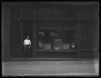 Unidentified Lord Electric Company storefront, New York City or Baltimore (?), undated (ca. 1920). Unidentified man posing in doorway.