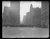 Parade in front of the Flatiron Building in support of the National Recovery Administration (N.R.A.), New York City, undated (ca. 1933-1935).