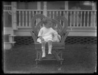 Eldredge France (little boy) with a rabbit, Chance, Maryland, August 1919.