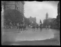 Unidentified soldiers led by General John J. Pershing in a victory parade, Washington D.C., undated (1918).
