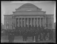 Crowds gathered outside Low Library, Columbia University, for the visit of Marshal Ferdinand Foch, New York City, undated (1921).