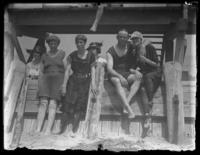 Odessa France Bjorkman and unidentified companions in swim suits at Rehoboth Beach, Delaware, July 4, 1919.
