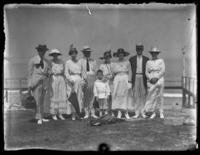 Odessa France Bjorkman and unidentified companions at Rehoboth Beach, Delaware, July 4, 1919.
