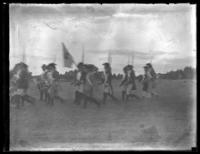 Unidentified re-enactment of an 18th century battle, undated (ca. 1919?).