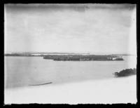 High-angle view of Lake Erie and other islands from Put-In-Bay, South Bass Island, Ohio, undated (ca. 1918-1922).