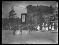 Soldiers marching in a parade with a banner that reads '188,' Baltimore, Maryland, undated (ca. 1919).