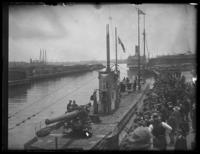 Unidentified submarine in port, with crowds observing, Baltimore, Maryland, undated (ca. 1919).