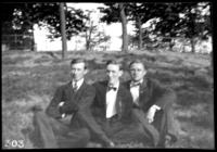 Fritz E. Bjorkman, Charles Edward Johnson, and an unidentified young man, undated (ca. 1910-1913).
