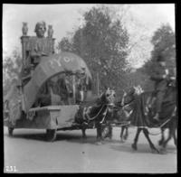 Parade float labeled 'History of New York,' New York City, undated (ca. 1905-1915).