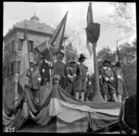 People in old Dutch costume on an unidentified parade float, undated (ca. 1905-1915).