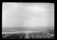 View looking west from the top of the Washington Monument, Washington, D.C, undated (ca. 1937). Lincoln Memorial and Arlington Memorial Bridge visible. Probably during the 1937 Boy Scouts' National Jamboree.