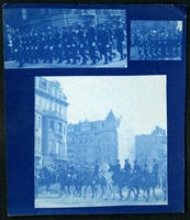 Composite print of shots of soldiers marching in unidentified military parade, New York City, undated (ca. 1905-1909).