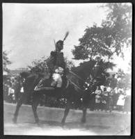 Unidentified official riding in a military parade, New York City, undated (ca. 1905-1909).