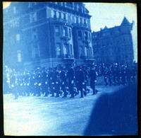 Soldiers marching in unidentified military parade, New York City, undated (ca. 1905-1909).