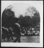 Unidentified official marching in a military parade, New York City, undated (ca. 1905-1909).