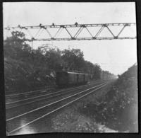 Unidentified electric train, undated (ca. 1900-1909). Emulsion damage.