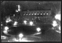 Night view of the rear of the New York Public Library main branch and Bryant Park, New York City, undated (ca. 1900-1909).