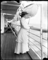 Alice Roosevelt aboard the SS Manchuria, undated [1905].