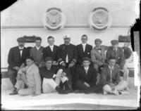 Unidentified group portrait aboard the SS Manchuria during William Howard Taft's mission to Asia, undated [1905].