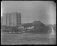 Indian Spring and environs, on the southwest corner of Amsterdam Avenue and W. 124th Street, New York City, November 16, 1898. Acropolis Apartments visible from rear.