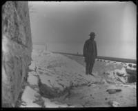 Unidentified man at the site of a well on the shore of the Hudson River at W. 104th Street, New York City, November 26, 1898.