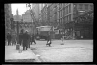 Sixth Avenue El, Manhattan, at Church Street and Park Place. View looking east from just west of Church Street, March 3, 1939.