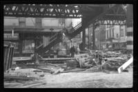Sixth Avenue El, Manhattan, at Chambers Street. View of the removal of the station, February 24, 1939.
