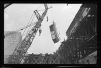 Sixth Avenue El, Manhattan, at Chambers Street. Crane removing a section of railing, February 24, 1939.