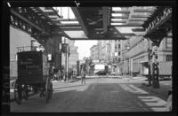 Ninth Avenue El, Manhattan, at Greenwich Street, Greenwich Village, October 16, 1940.
