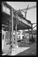 Fifth Avenue El, Brooklyn, September 19, 1941. Power lines being installed from the B.M.T. shop to furnish power for the trolley line south of this point.