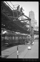 Fulton Street El, Brooklyn, at Court Square, May 15, 1941. Cutting signal cables.