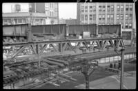 Fulton Street El, Brooklyn, at Hudson Street, July 1, 1941. View from the roof of the Fulton Street building.